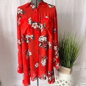 in every story tunic blouse red floral Size 2X